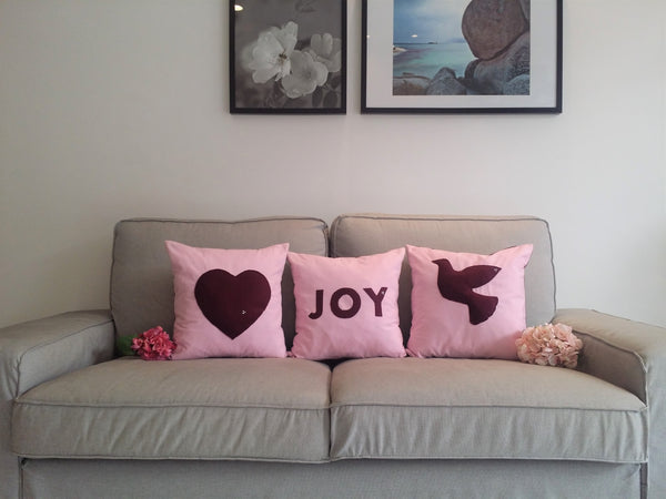 Christmas set of 3 Decorative pillows, Love, Peace & Joy Pillows with Insert, Christmas Gift Set