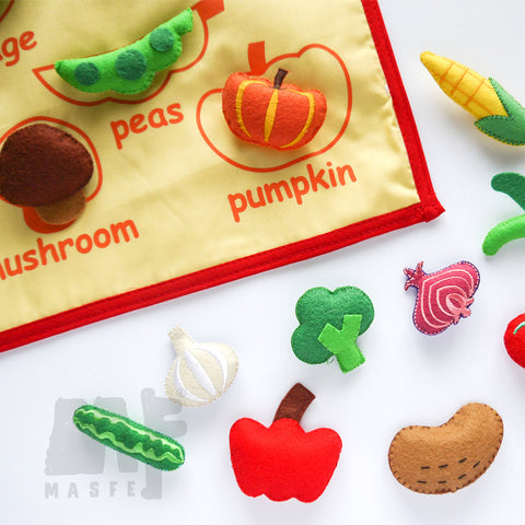 Handmade Vegetables Wall Chart, Vegetables Pretend Play Set for kids