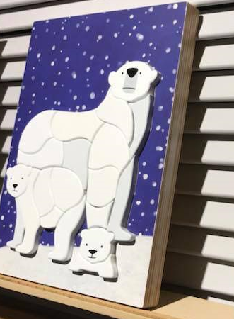 Polar Bear Wooden Blocks, Handmade Wooden Polar Bear