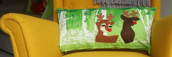 Reindeer Pillow with Cover, Christmas Pillow, Lumber Pillows, Handmade Designer Pillow