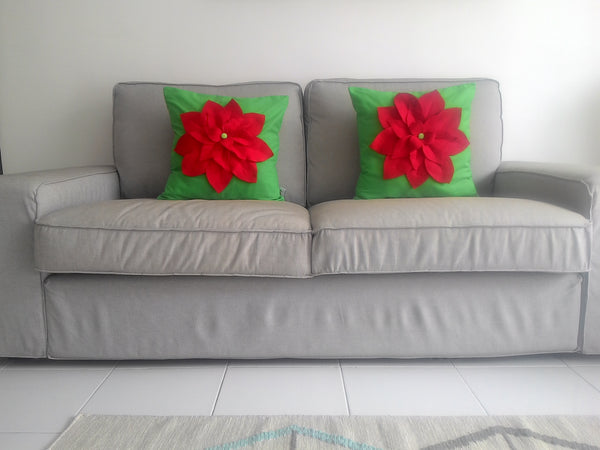 Christmas Pillow and Cover, Poinsettia Pillow, 3D Poinsettia Designer Pillow