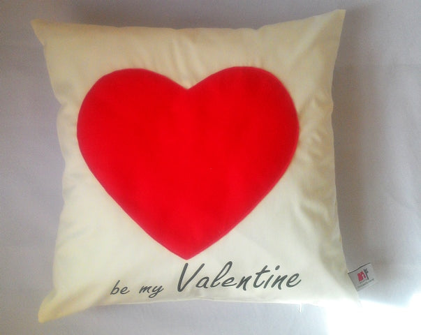 "Be my Valentine, Valentine Cushion, Red Heart Valentine Cushion, 16"" x 16"""