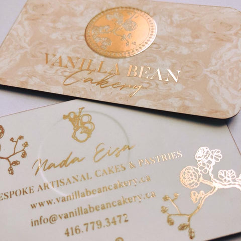 Vanilla Bean Cakery Rose Gold Foil Embossed Business Cards And