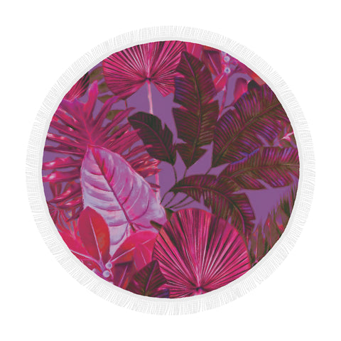 Dark Warm Tropical Round Beach Blanket