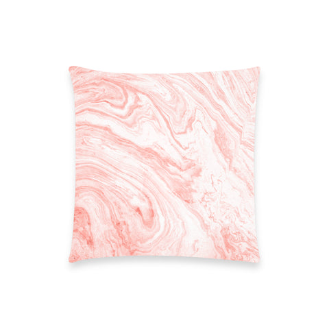 Salmon Pink Marble Pillow Case