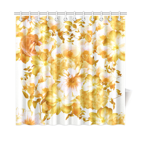 "Yellow Romantic Floral Shower Curtain 72""x72"""
