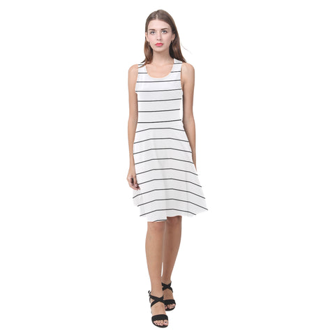 Black Horizontal Stripes on White Fit and Flare Dress
