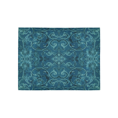 Antique Thai Pattern Teal 2 Rug, Small