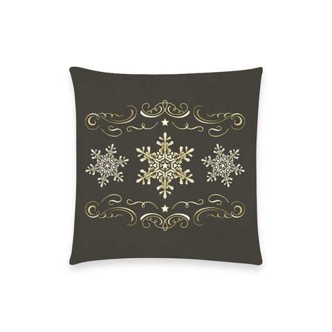 "Holiday Snowflake Black Pillow Case - 18""x18"""