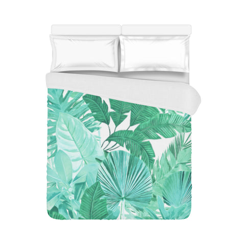 turquoise a quilt tropical size king set palm duvet piece bed leaf covers bag in