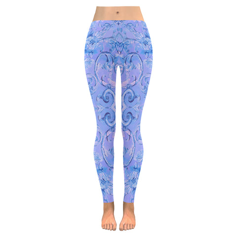 Antique Thai Pattern Blue Leggings