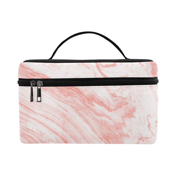 Salmon Pink Marble Cosmetics Bag