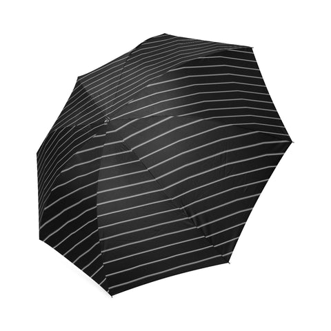 White Small Stripes on Black Umbrella