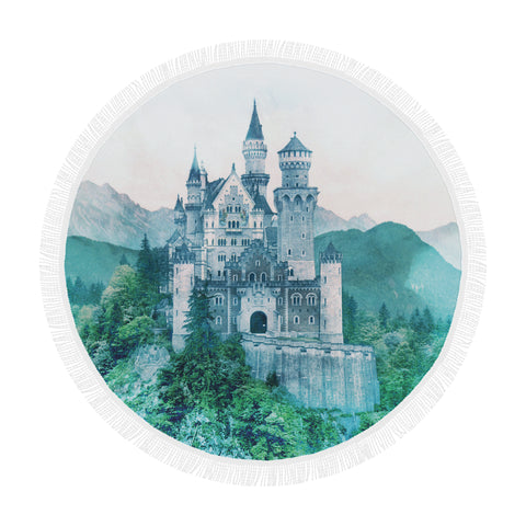 Forest Castle Round Beach Blanket