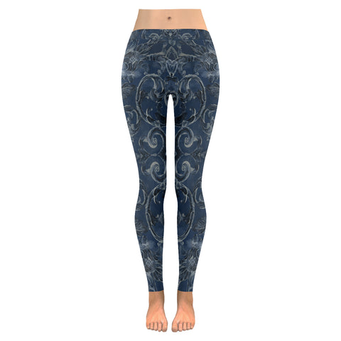 Antique Thai Pattern Dark Blue Leggings