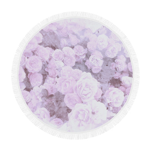 Lilac Watercolor Floral Round Beach Blanket