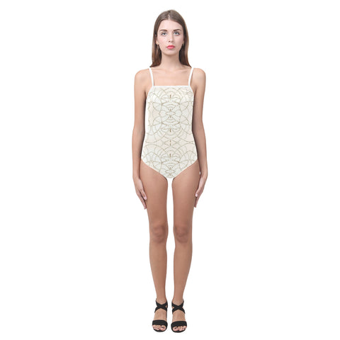 Beaded Pearls One Piece Cut Out Swimsuit