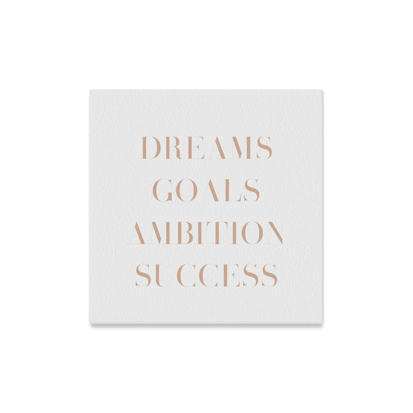 "Dreams Goals Ambition Success Canvas Print 16""x16"""