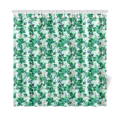 "Tropical Bramble Blue Shower Curtain 72""x72"""