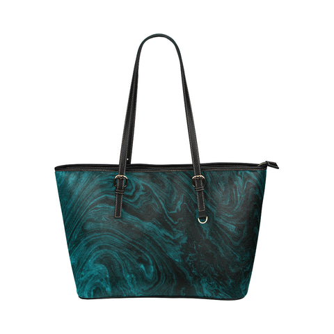 Emerald Green Marble Faux Leather Shoulder Bag