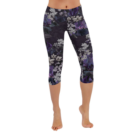 Lalia Dark Floral Capri Leggings