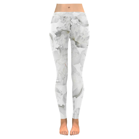 White Peonies Leggings