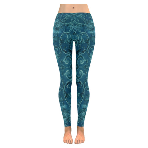 Antique Thai Pattern Teal Leggings