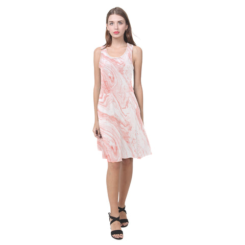Salmon Pink Marble Fit and Flare Dress