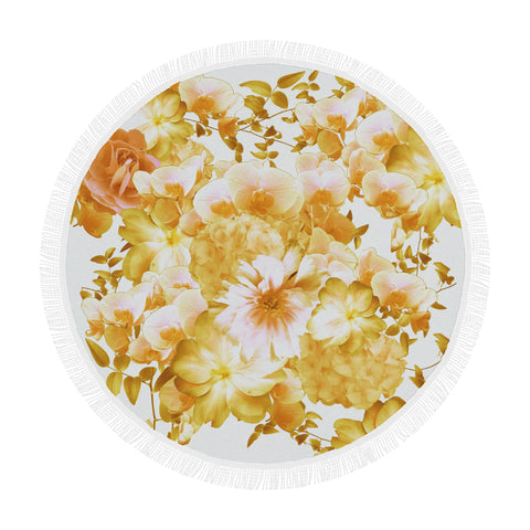 Yellow Romantic Floral Round Beach Blanket