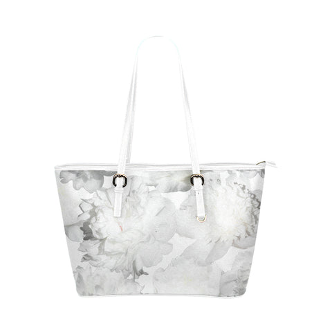 White Peonies Faux Leather Shoulder Bag