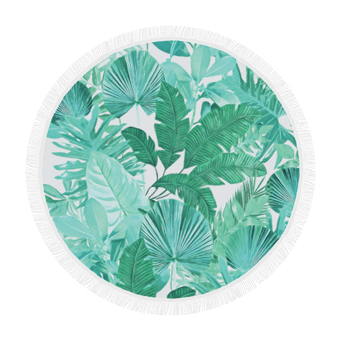 Green Tropical Round Beach Blanket