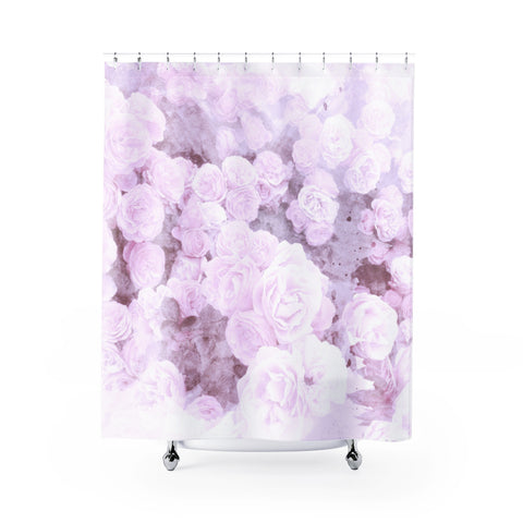 Lilac Watercolor Floral Shower Curtain