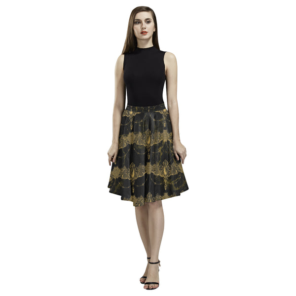 Black Marble Draped Jewels Full Skirt