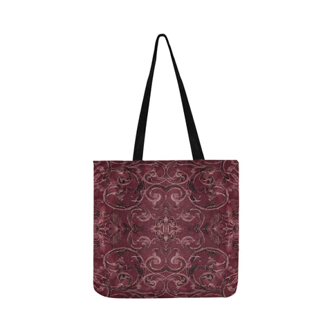 Antique Thai Pattern Burgundy Tote Bag