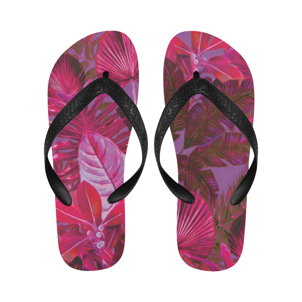 Dark Warm Tropical Flip Flops