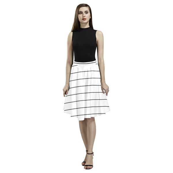 Black White Horizontal Stripes Full Skirt