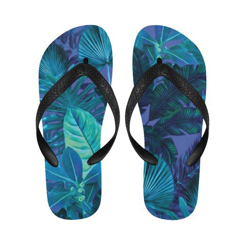 Dark Cool Tropical Flip Flops