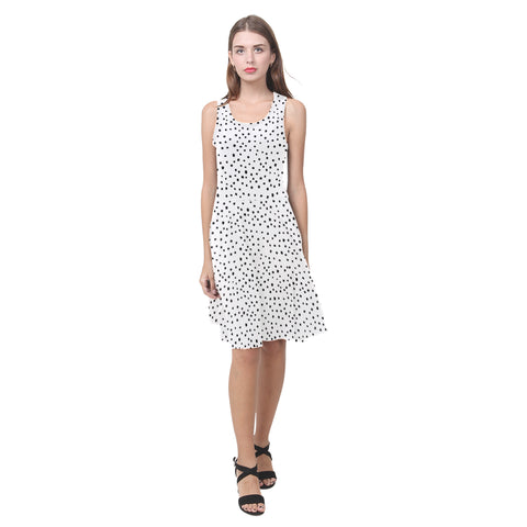 Black Dots on White Fit and Flare Dress