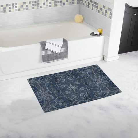 Antique Thai Pattern Dark Blue Bath Mat