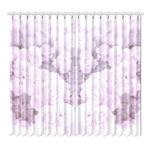 Lilac Watercolor Floral Window Curtain