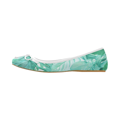 Green Tropical Ballet Flats