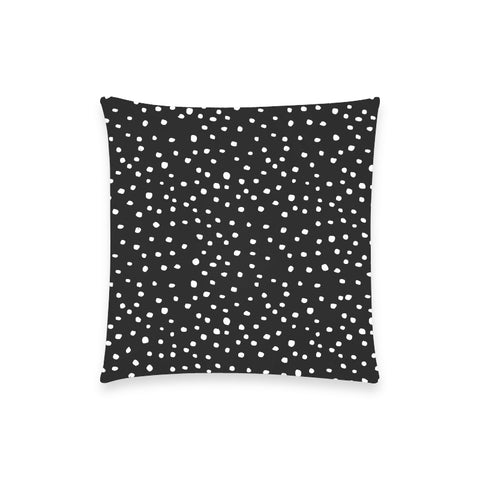White Dots on Black Pillow Case