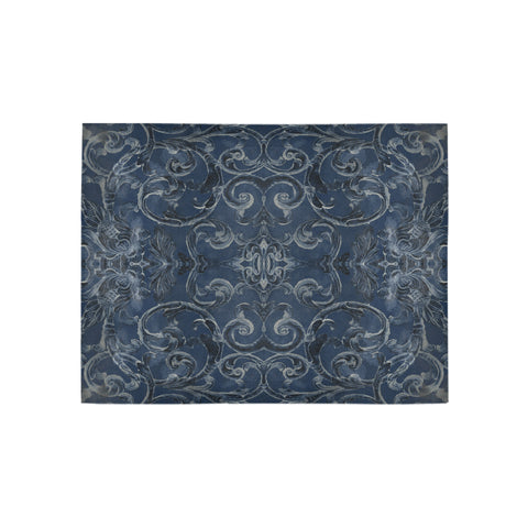Antique Thai Pattern Dark Blue Rug, Small