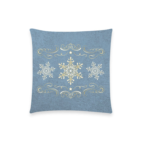 "Holiday Snowflake Blue Pillow Case - 18""x18"""