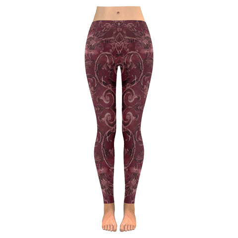 Antique Thai Pattern Burgundy Leggings