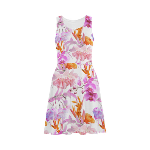 Tropical Bahamas Orange Lilac Fit and Flare Dress