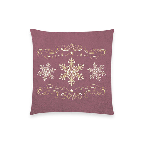"Holiday Snowflake Burgundy Pillow Case - 18""x18"""