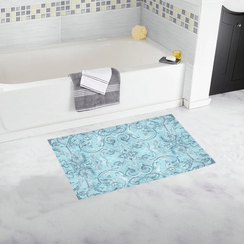 Antique Thai Pattern Pale Blue Bath Mat