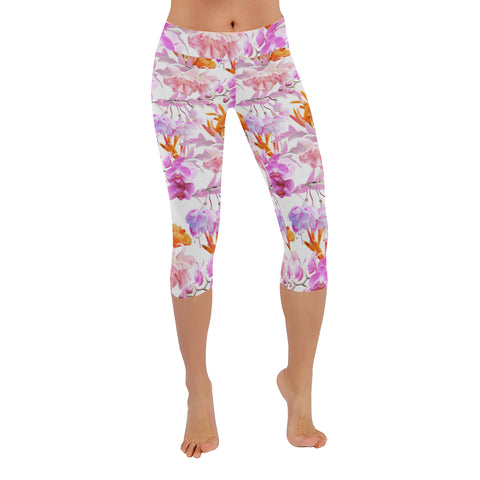 Tropical Bahamas Orange Lilac Capri Leggings
