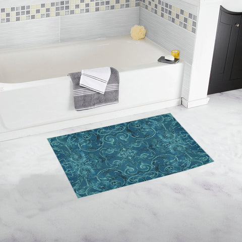 Antique Thai Pattern Teal Bath Mat